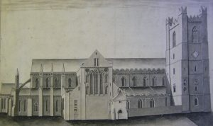 St Patrick's Cathedral Dublin. North Elevation. Blaymires 1739