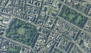 St Stephen's Green and Merrion Square. Aerial View